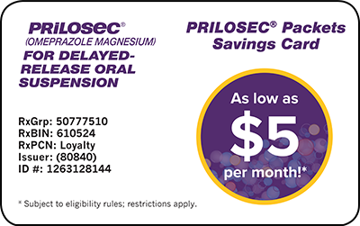 PRILOSEC Packets Savings Card